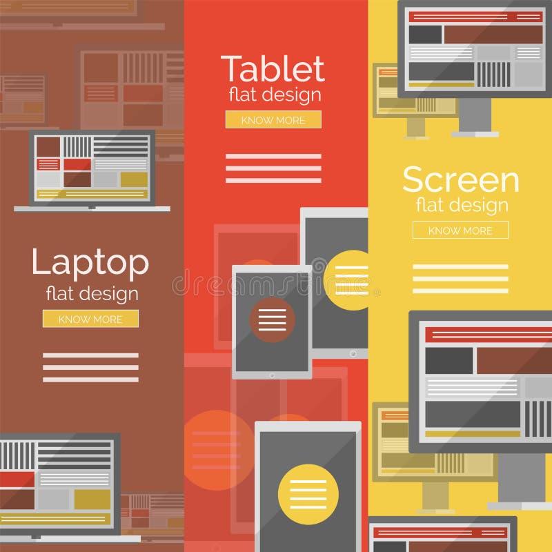 Sistema de conceptos planos de la pantalla del diseño ilustración del vector