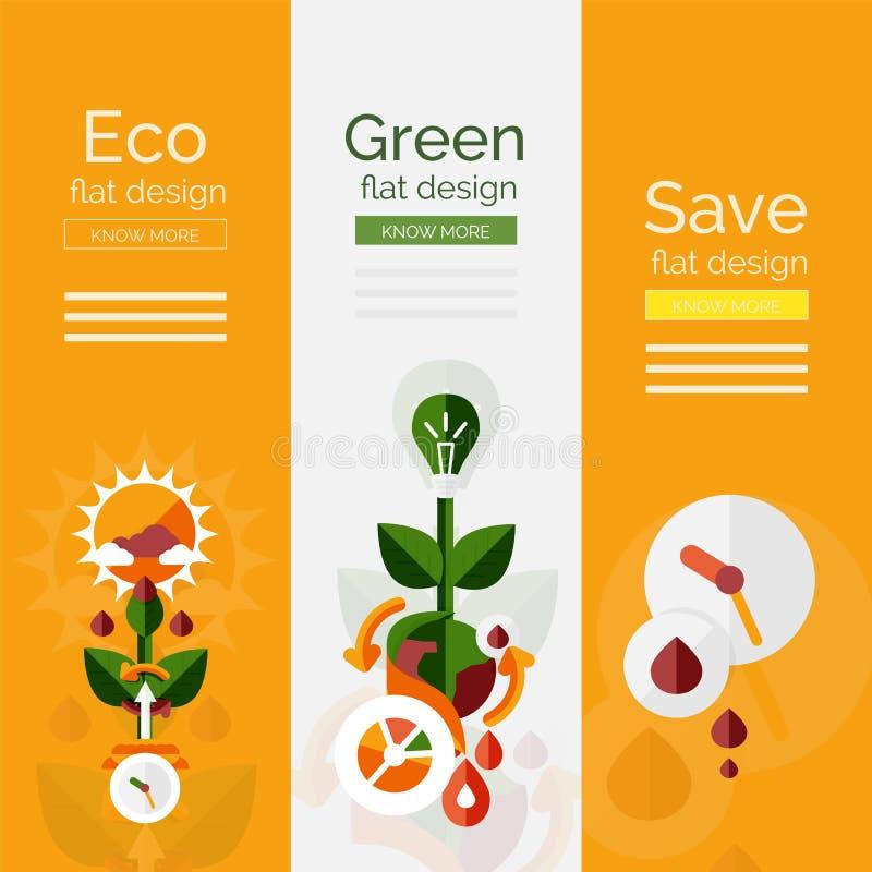 Sistema de conceptos planos del eco del diseño stock de ilustración