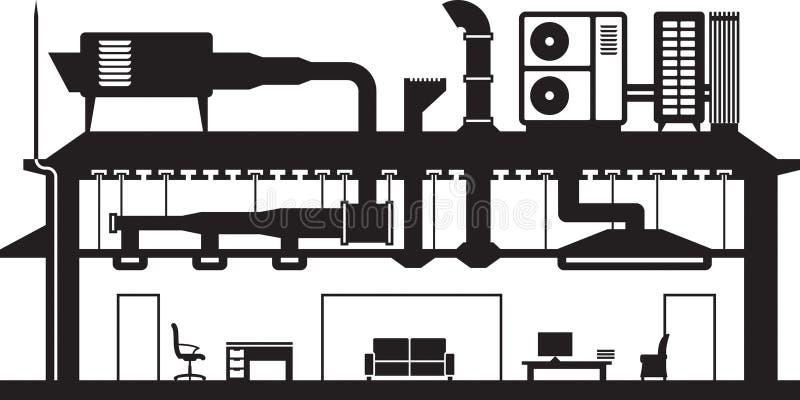 Sistema de condicionamento de ar central para construir ilustração royalty free