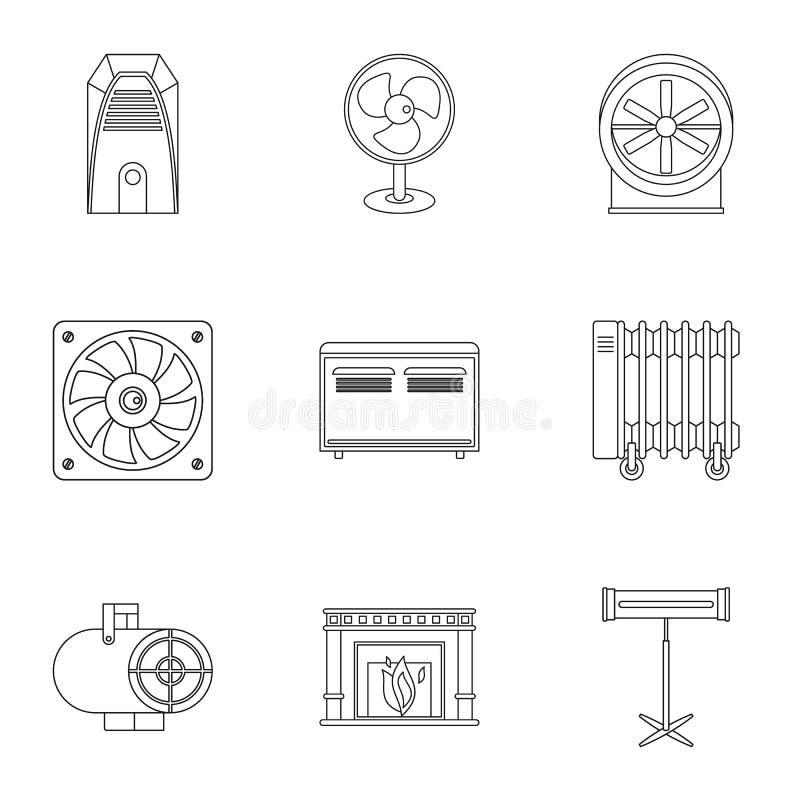 Sistema de condicionamiento del icono, estilo del esquema stock de ilustración