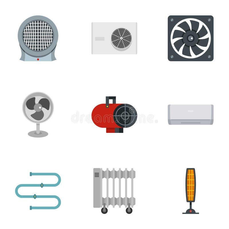 Sistema de condicionamiento del icono, estilo plano ilustración del vector