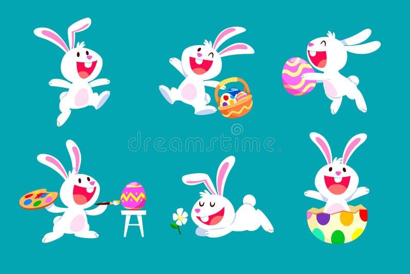 Sistema de conejo blanco de pascua en diversas actitudes stock de ilustración