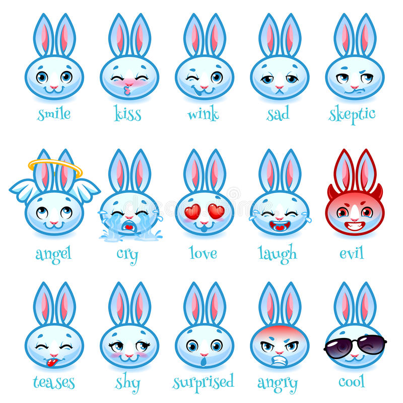 Sistema de conejo divertido de los emoticons libre illustration