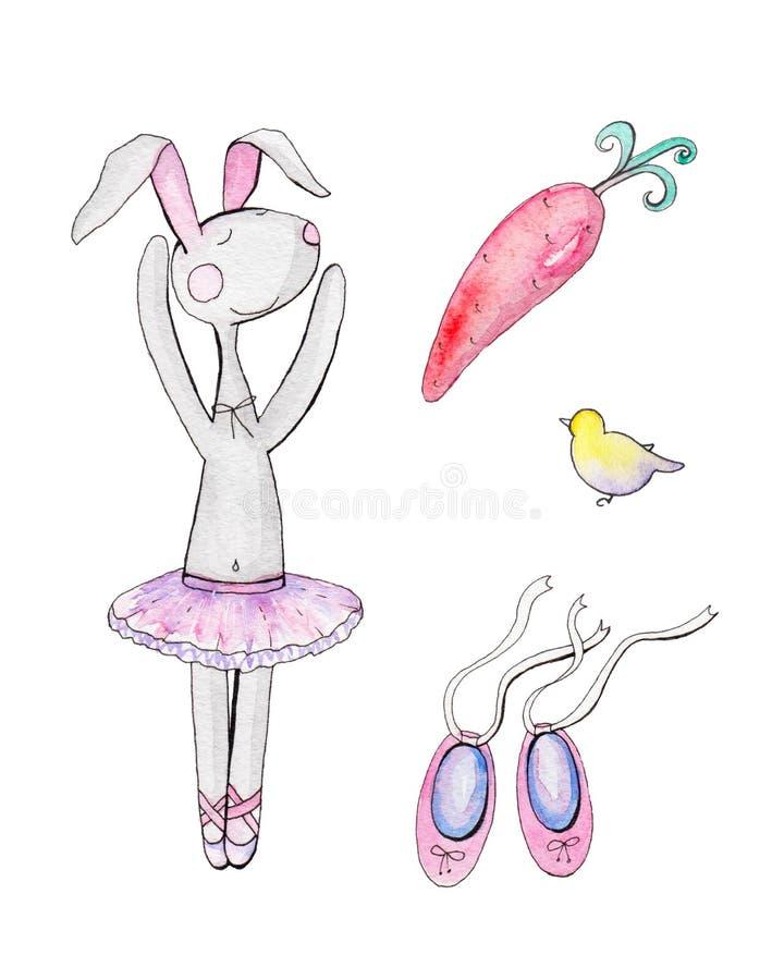 Sistema de conejo de la historieta del baile ilustración del vector