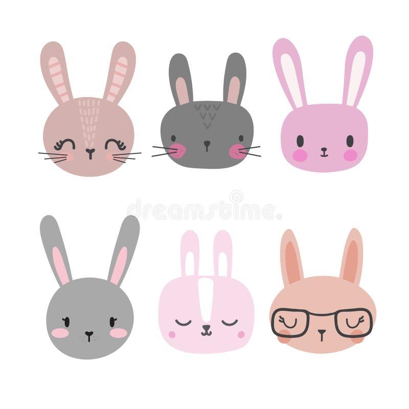 Sistema de conejos lindos Animales divertidos del garabato Poco conejito en estilo de la historieta ilustración del vector