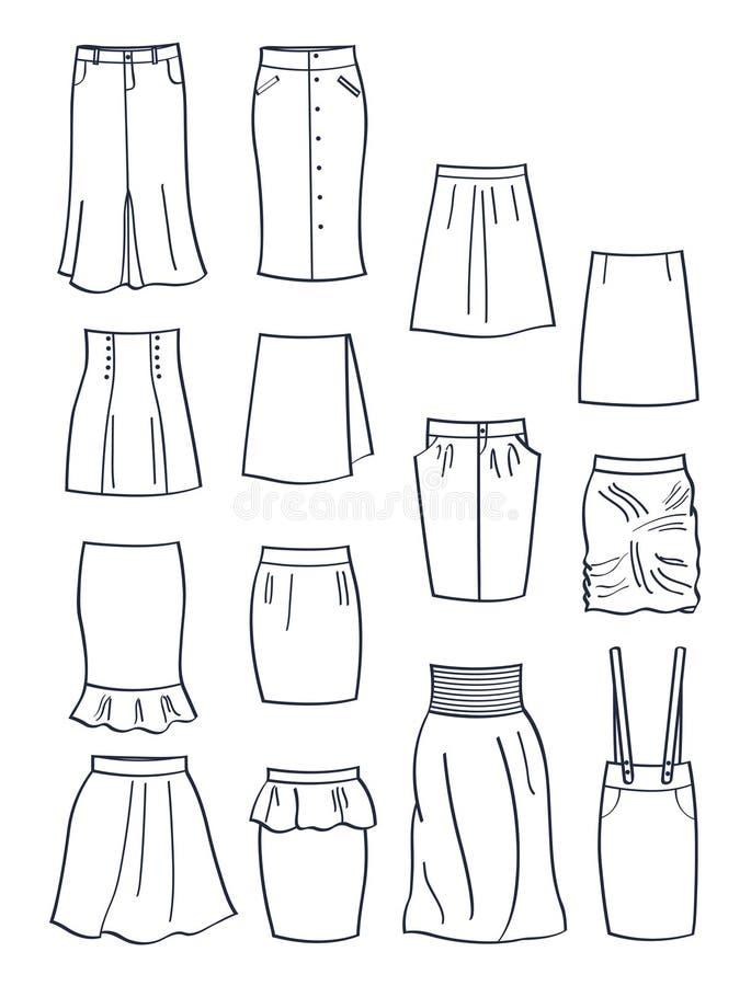 Sistema de contornos de diversas faldas ilustración del vector