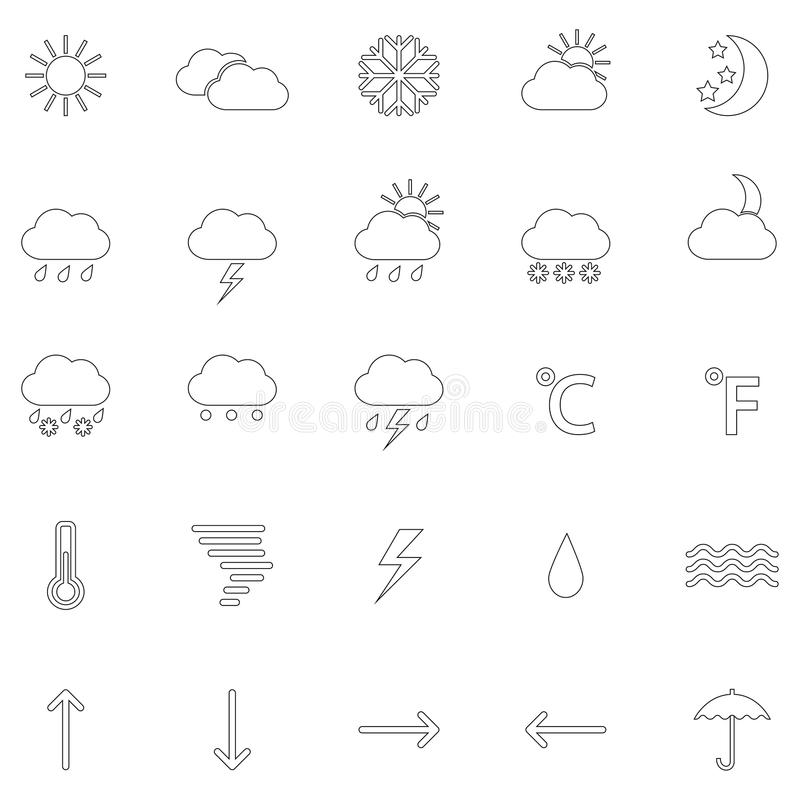 Sistema de contornos de los iconos del tiempo, ejemplo del vector ilustración del vector