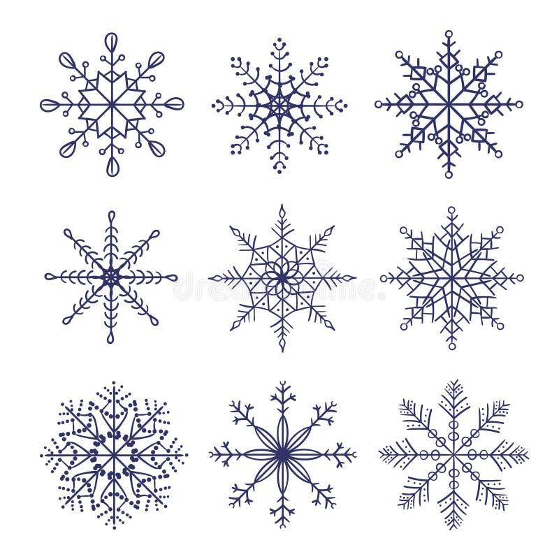 Sistema de copos de nieve del vector del garabato aislados en el fondo blanco stock de ilustración