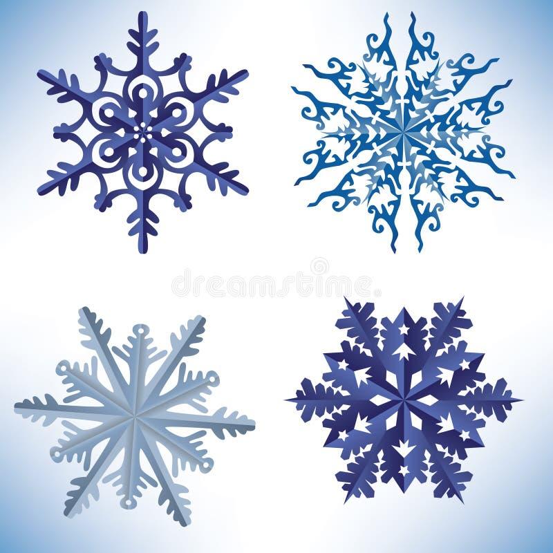 Sistema de copos de nieve en estilo de la papiroflexia libre illustration