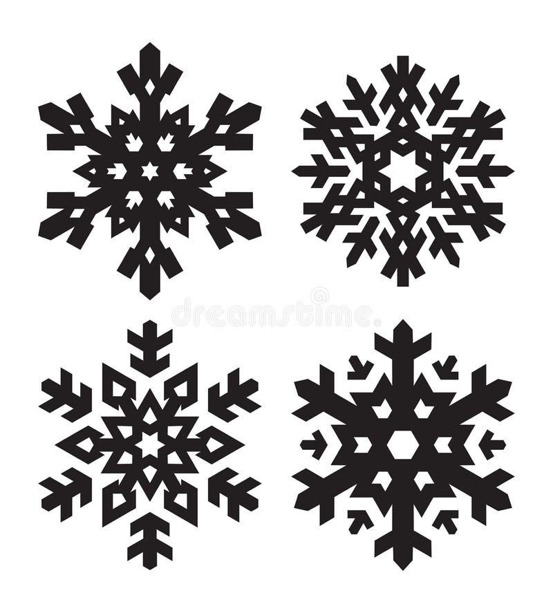 Sistema De 4 Copos De Nieve Negros Elegantes De La Forma Simple Para ...