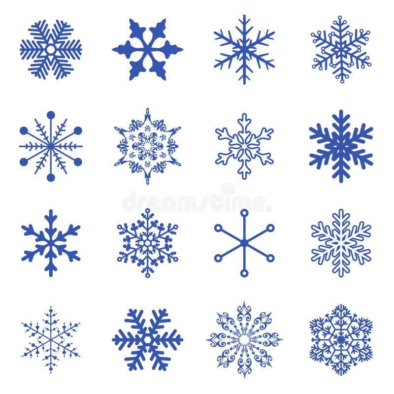 Sistema De Copos De Nieve Simples. Ilustración del Vector ...