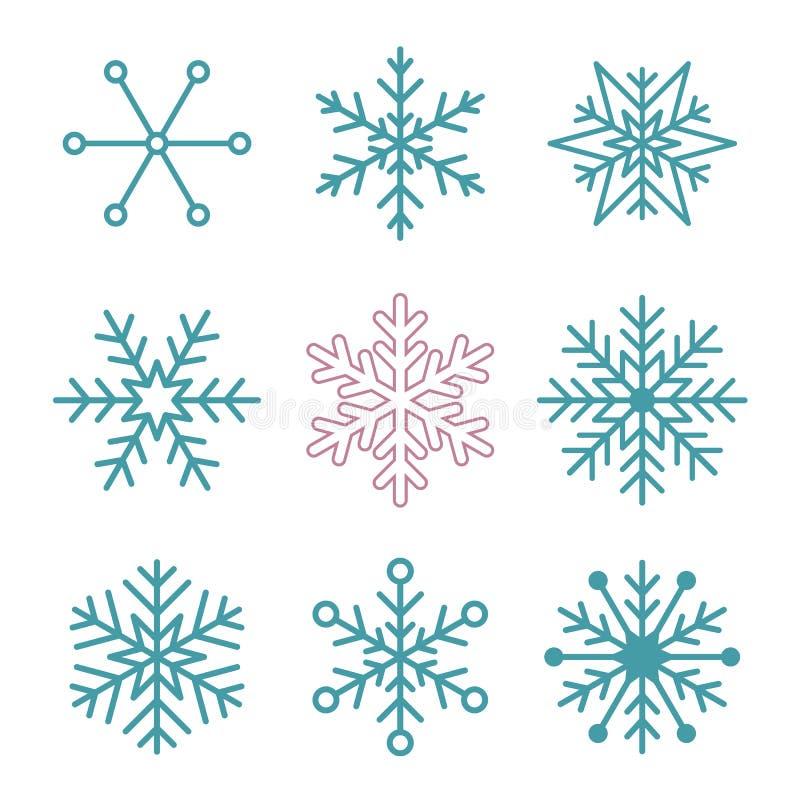 Sistema De Copos De Nieve Simples Ilustración del Vector ...