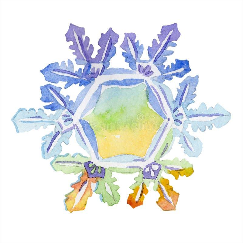 Sistema de copos de nieve dibujados mano de la acuarela en un fondo blanco Elemento aislado del ejemplo ilustración del vector
