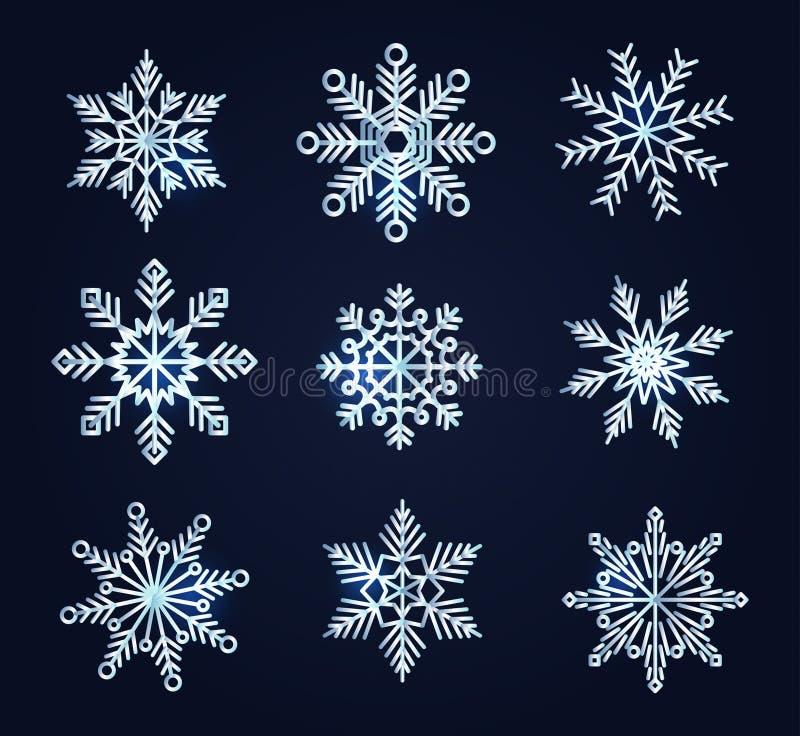 Sistema de copos de nieve en fondo de los azules marinos Nieve realista del vector stock de ilustración