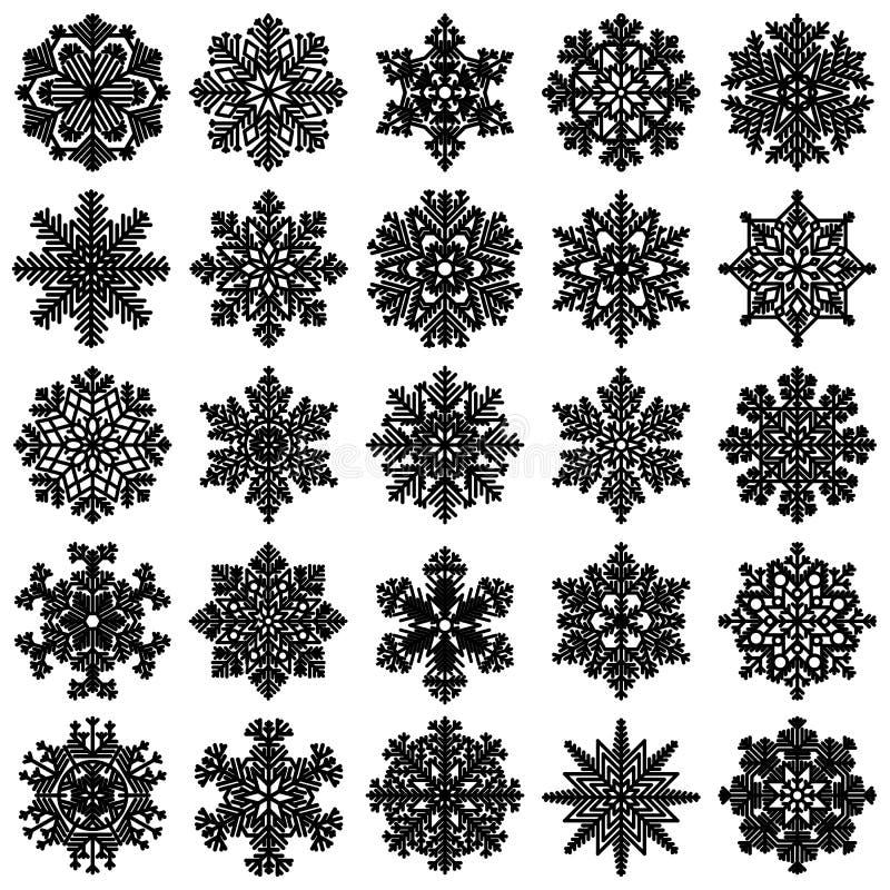Sistema de 25 copos de nieve geométricos altamente detallados ilustración del vector