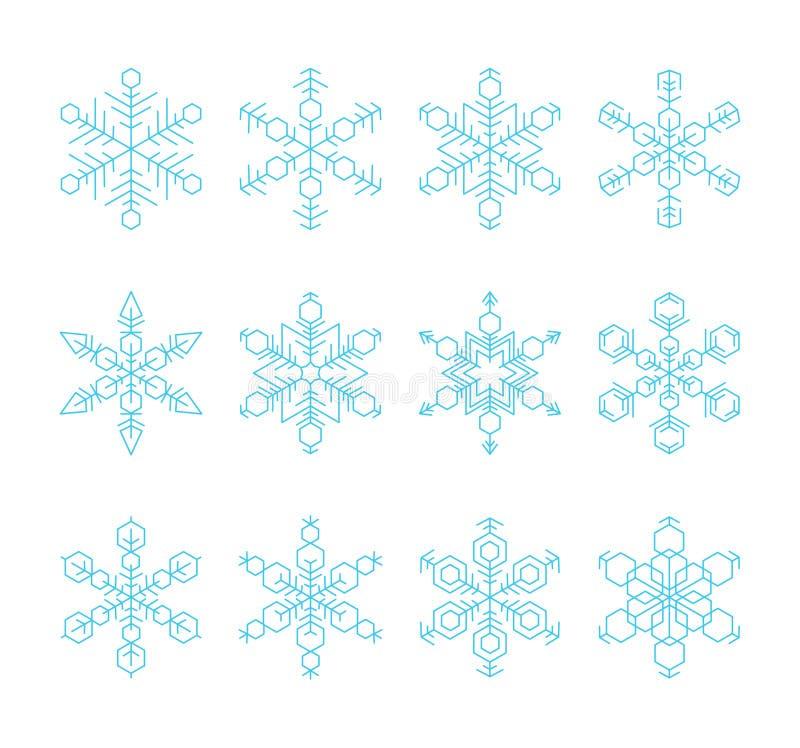 Sistema de copos de nieve hexagonales azules aislados en el fondo blanco Vector eps10 ilustración del vector