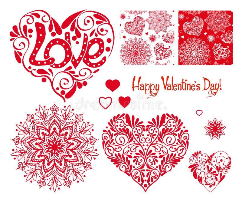 Sistema de corazón del amor con el modelo, las mandalas y los modelos inconsútiles f stock de ilustración