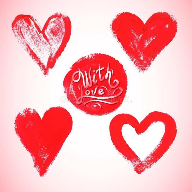 Sistema de corazón rojo de la acuarela, ejemplo del vector stock de ilustración