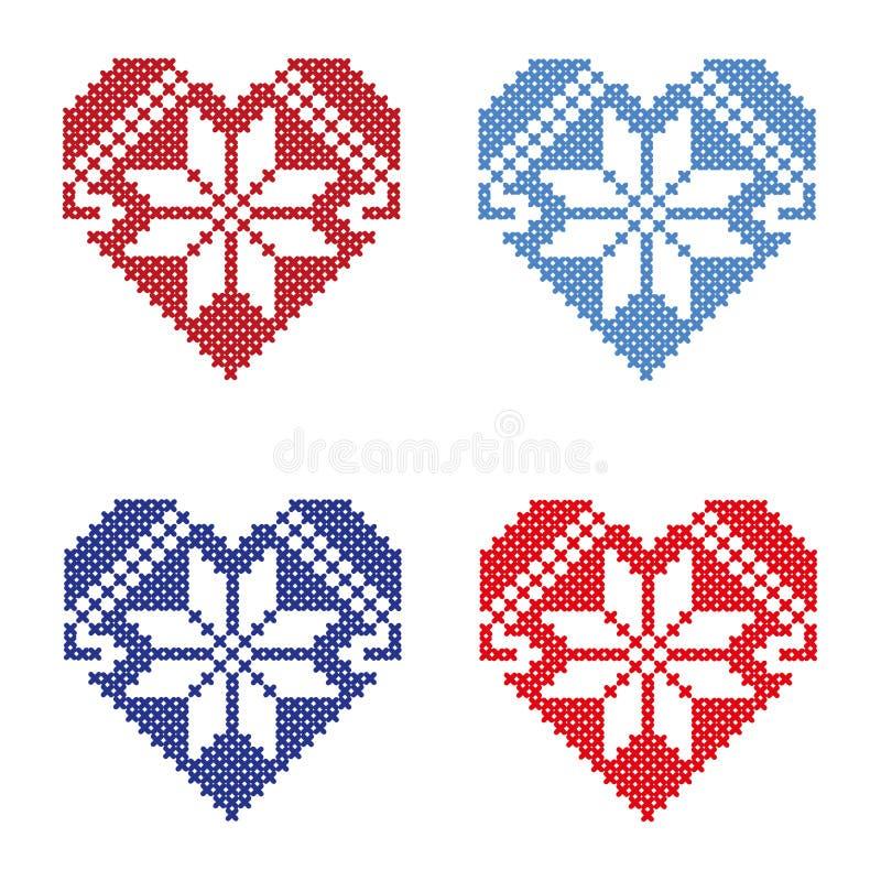 Sistema de corazones brillantes con los ornamentos hechos fuera de la cruz stock de ilustración