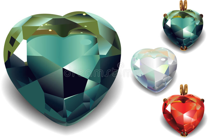 Sistema de corazones brillantes del diamante. libre illustration