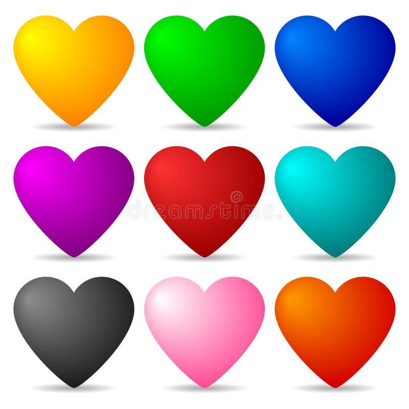Sistema de corazones coloreados aislados en el fondo blanco para su diseño, juego, tarjeta Ilustración del vector stock de ilustración