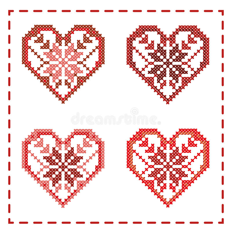 Sistema de corazones con los ornamentos hechos fuera de la cruz stock de ilustración