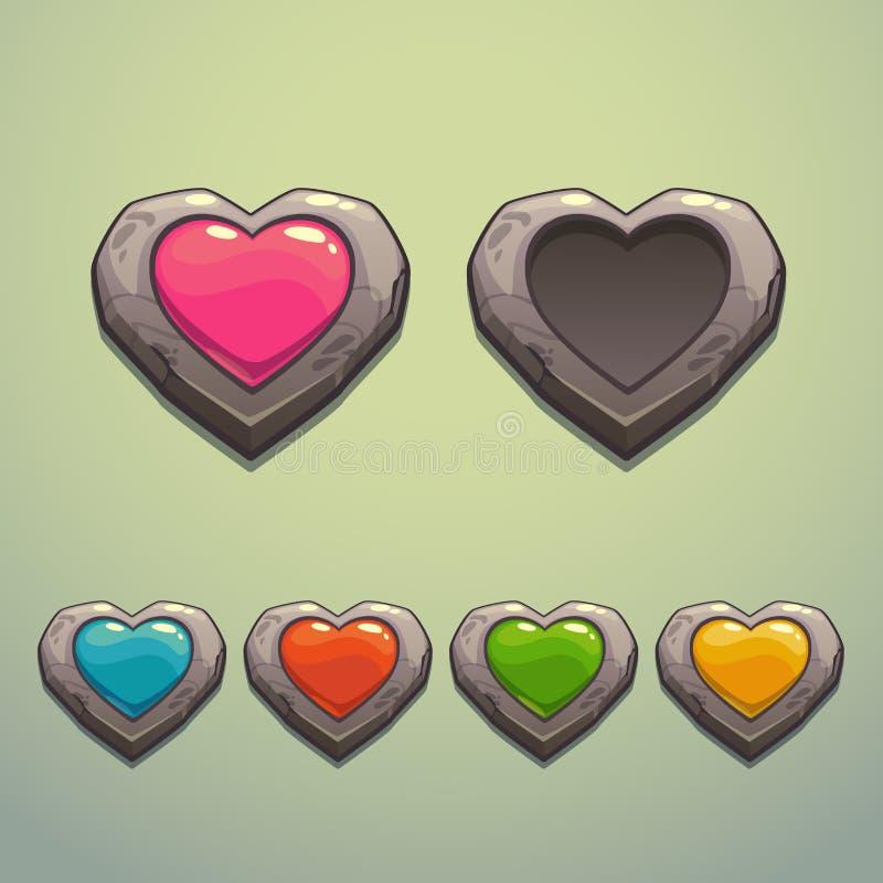 Sistema de corazones de la piedra de la historieta libre illustration
