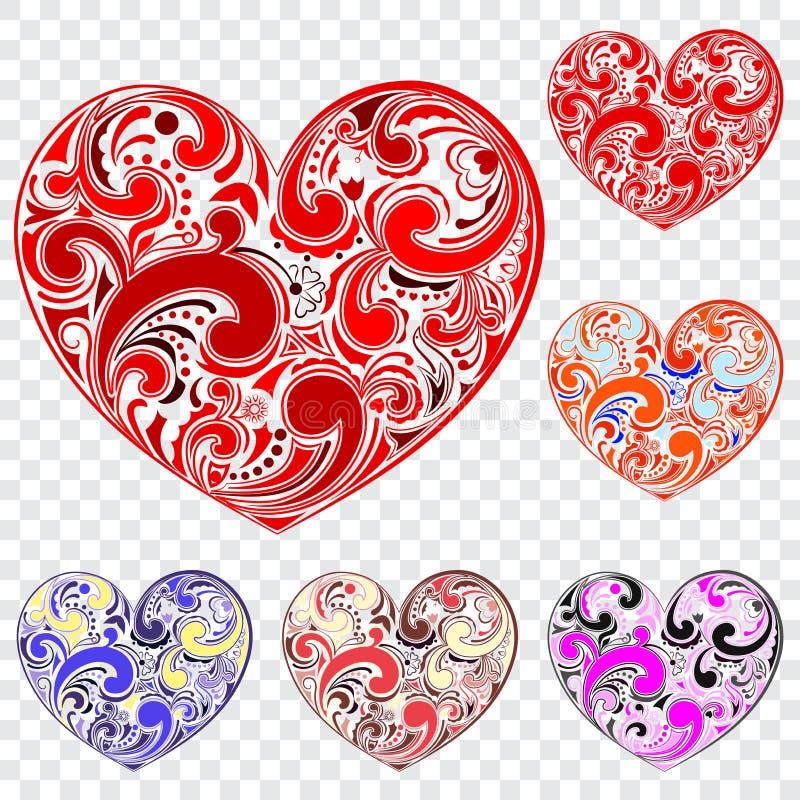 Sistema de corazones hechos de rizos ilustración del vector