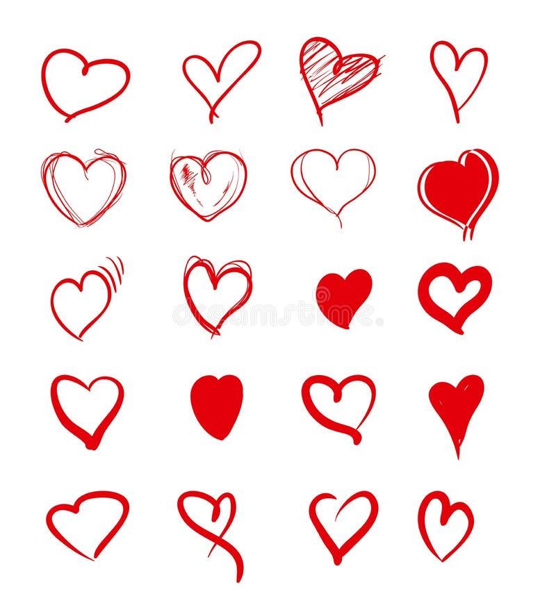 Sistema de corazones rojos del grunge ilustración del vector