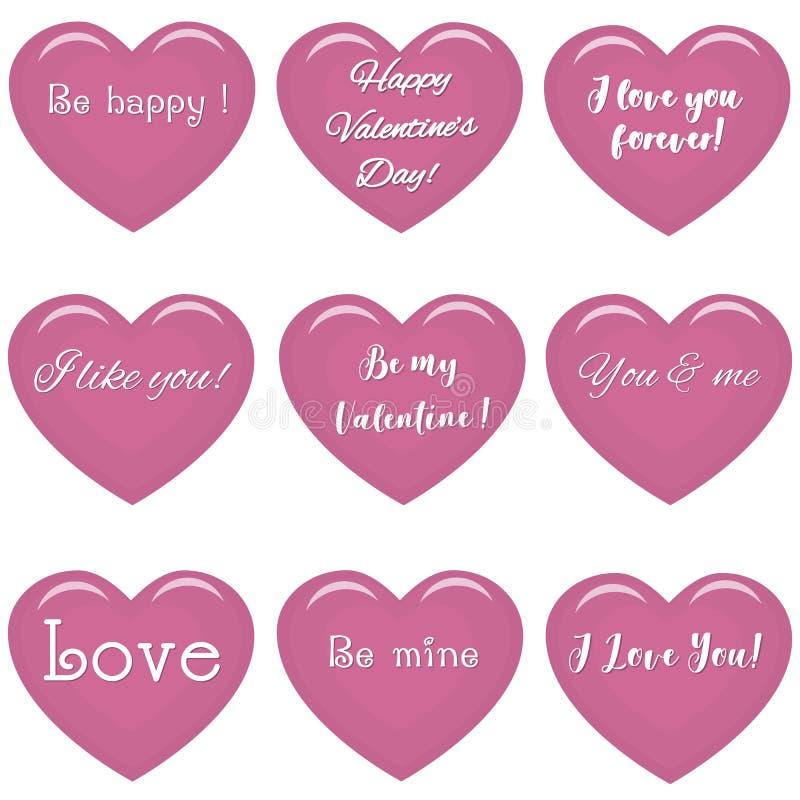 Sistema de corazones rosados con el texto sobre amor ilustración del vector