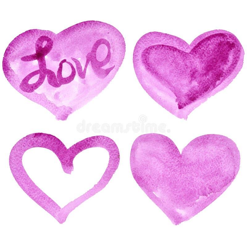 Sistema de corazones rosados de la acuarela libre illustration