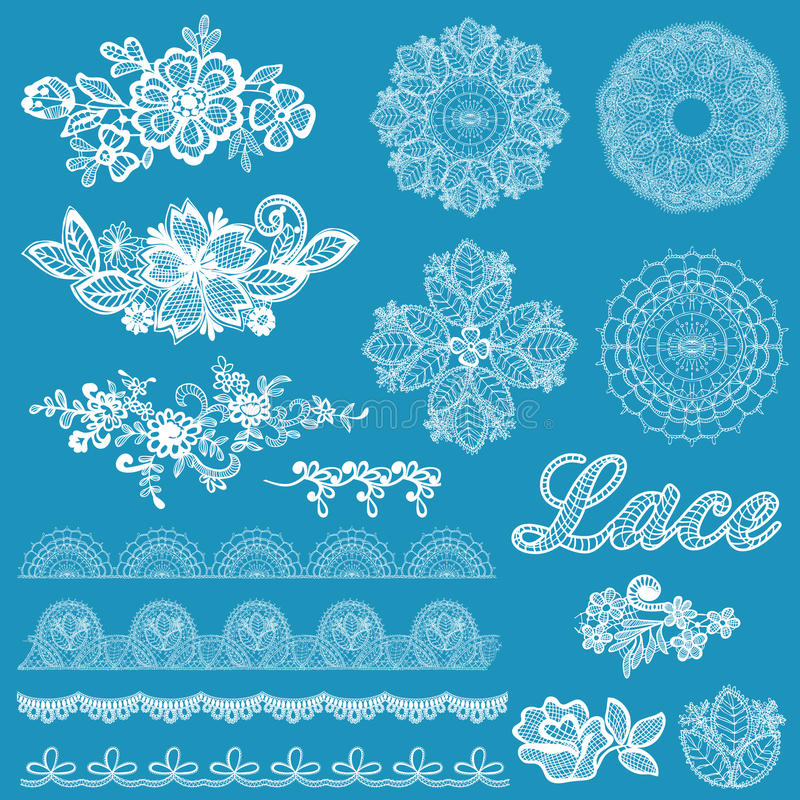 Sistema de cordón, cintas, flores stock de ilustración
