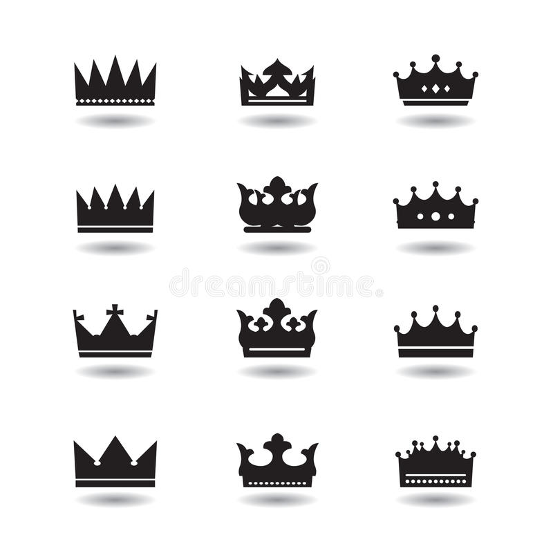 Sistema de coronas negras stock de ilustración