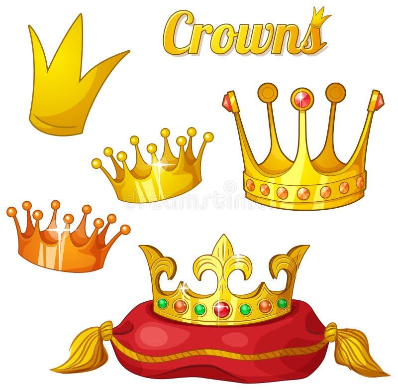 Sistema de coronas reales del oro aisladas en blanco ilustración del vector