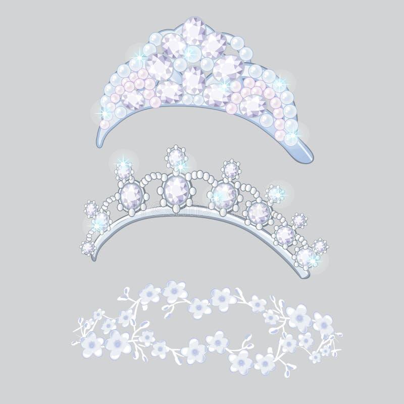 Sistema de coronas y de guirnaldas en la cabeza de las novias aislada en fondo gris Joyería del diamante de la boda de la joyería ilustración del vector