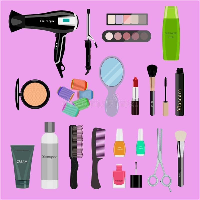Sistema de cosméticos, de herramientas de la belleza y de productos profesionales: hairdryer, espejo, cepillos del maquillaje, so ilustración del vector
