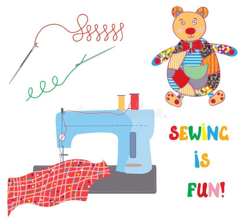 Sistema de costura con el oso del remiendo - diseño divertido ilustración del vector