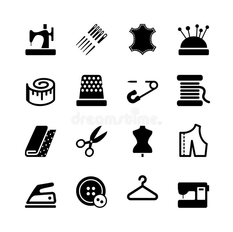 Sistema de costura del icono del equipo y de la costura del vector stock de ilustración
