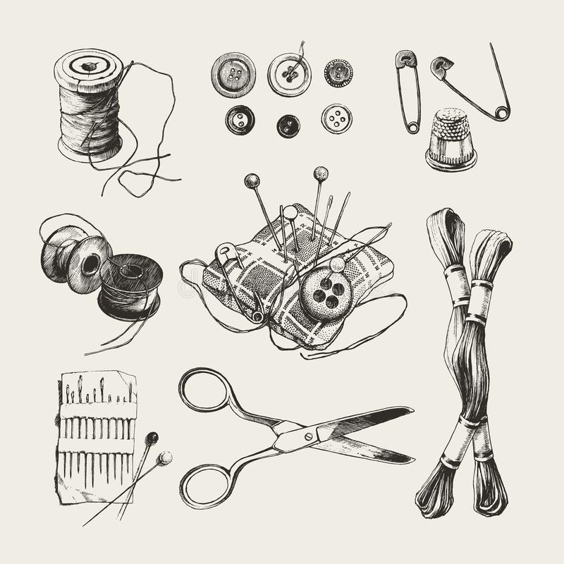 Sistema de costura dibujado tinta ilustración del vector