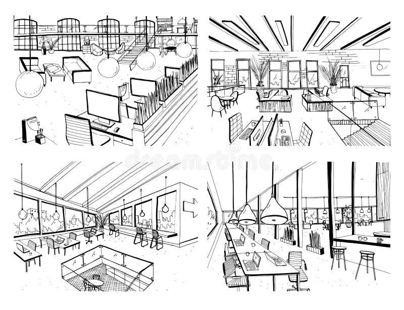 Sistema de coworking dibujado mano Interiores modernos de la oficina, espacio abierto espacio de trabajo con los ordenadores, los ilustración del vector