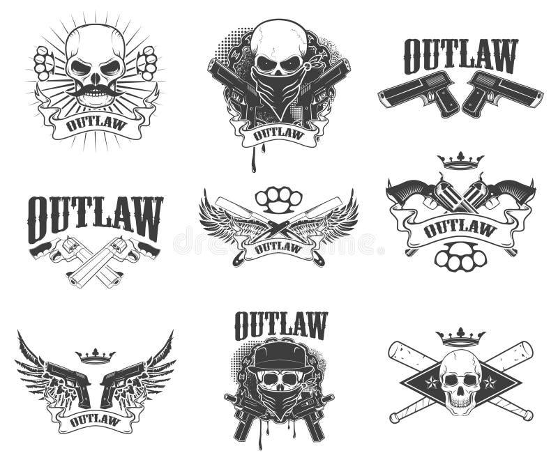 Sistema de cráneos del gangsta en el fondo blanco proscriba triunfo stock de ilustración