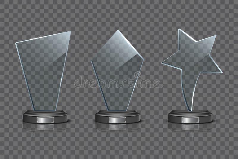 Sistema de cristal de la plantilla del premio aislado en fondo transparente Premio de cristal en blanco del trofeo del vector stock de ilustración