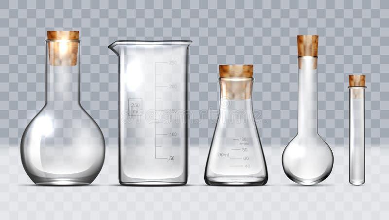 Sistema de cristal realista del equipo de laboratorio Frascos, cubiletes ilustración del vector