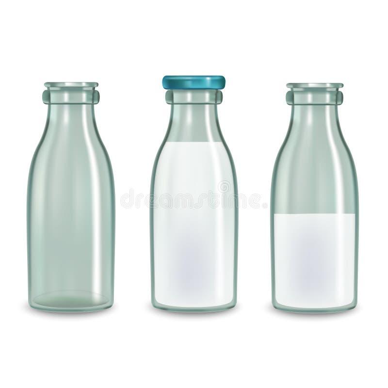 Sistema de cristal transparente realista de la botella de leche Vector libre illustration