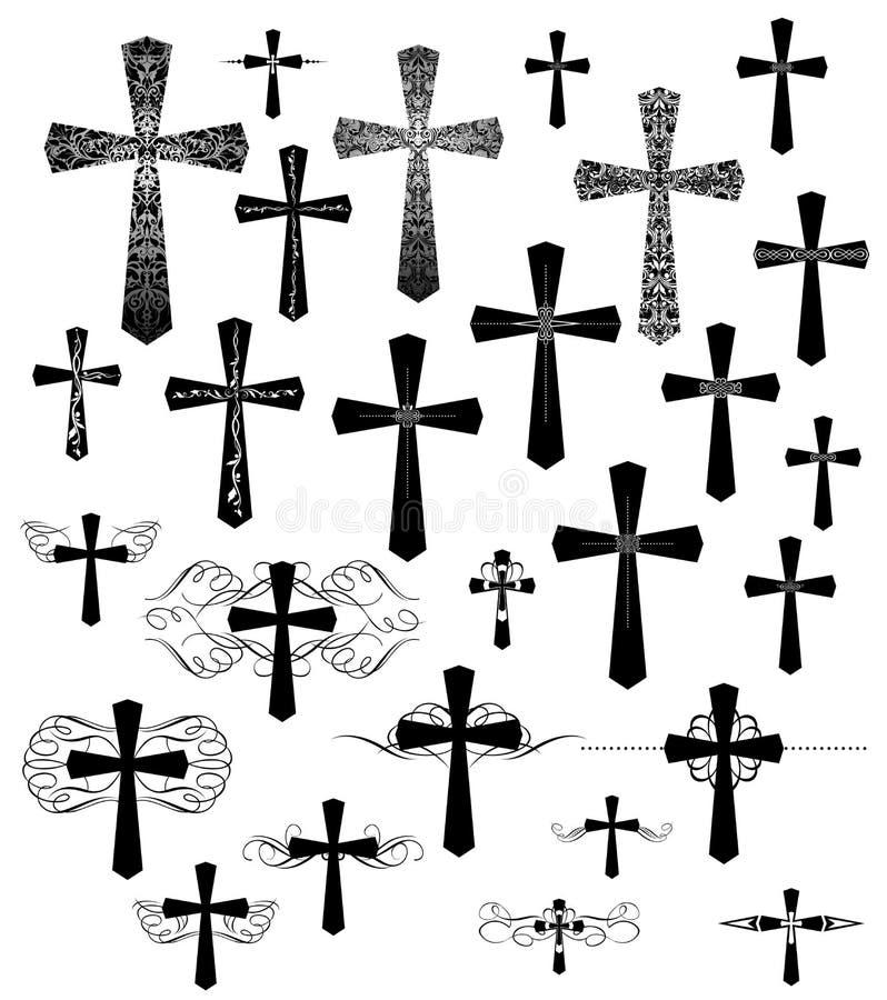 Sistema de cruces del grabado del vintage con flourishes stock de ilustración