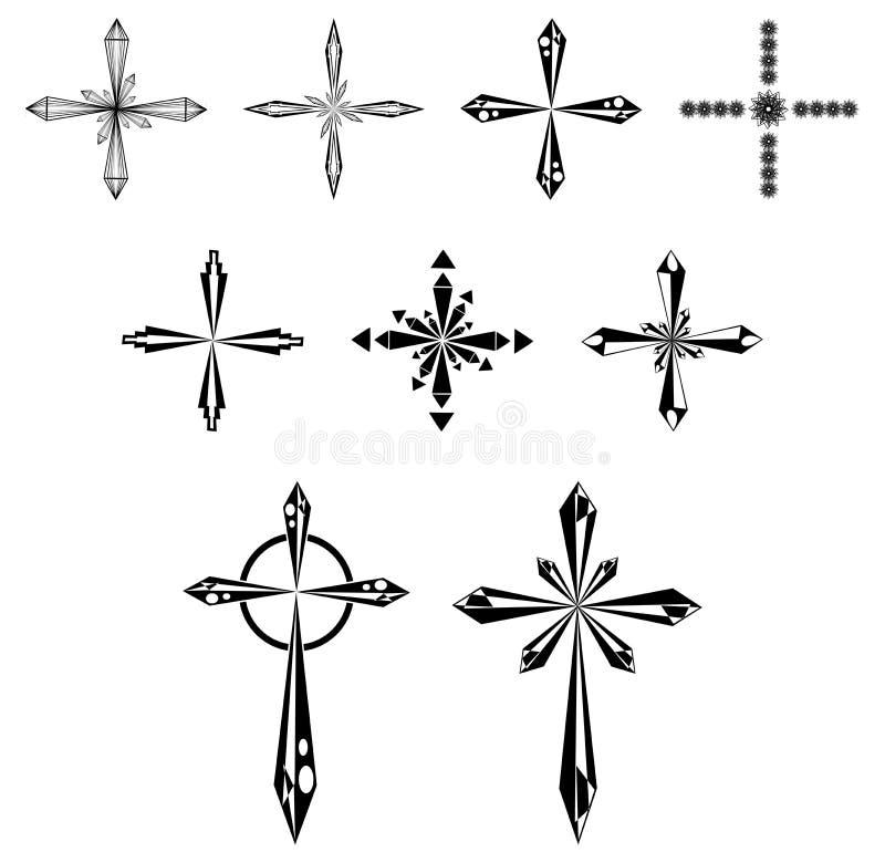 Sistema de cruces estilizadas hermosas ilustración del vector