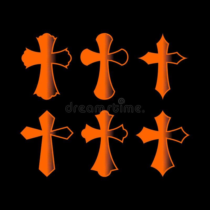 Sistema de cruces Símbolos cristianos Muestras religiosas ilustración del vector