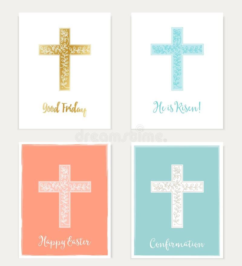 Sistema de cruz y de las flores Christian Cards Pascua, Viernes Santo, confirmación ilustración del vector
