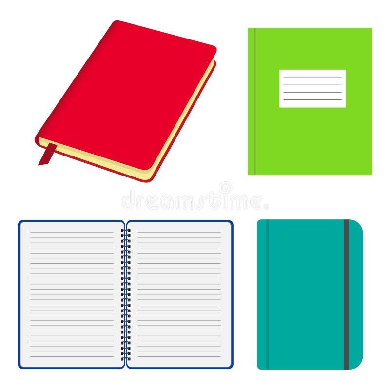Sistema de cuadernos y de cuadernos abiertos y cerrados con las cubiertas coloreadas Cuaderno con la correa elástico, con espiral stock de ilustración