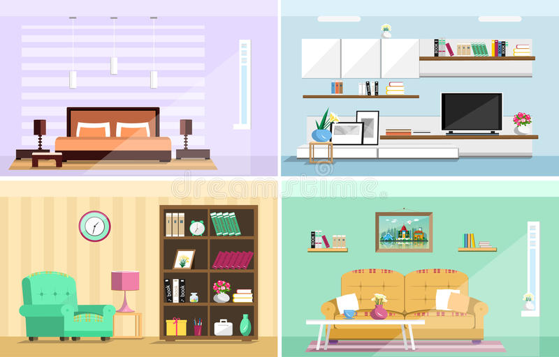 Sistema de cuartos coloridos de la casa del diseño interior del vector con los iconos de los muebles: sala de estar, dormitorio E ilustración del vector